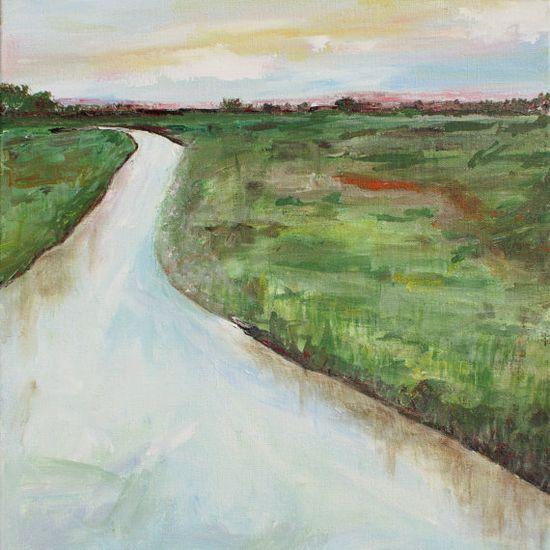 Lowcountry Creek 16x20 Original Acrylic by OldBunnyStudio on Etsy, $65.00