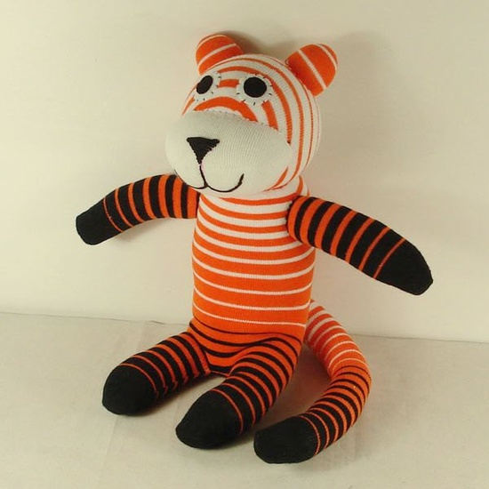 Handmade Orange Striped Sock Tiger Stuffed Animal Doll Baby Toys. $14.99, via Etsy.