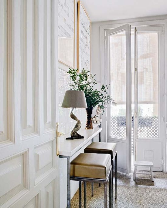 all-white entryway
