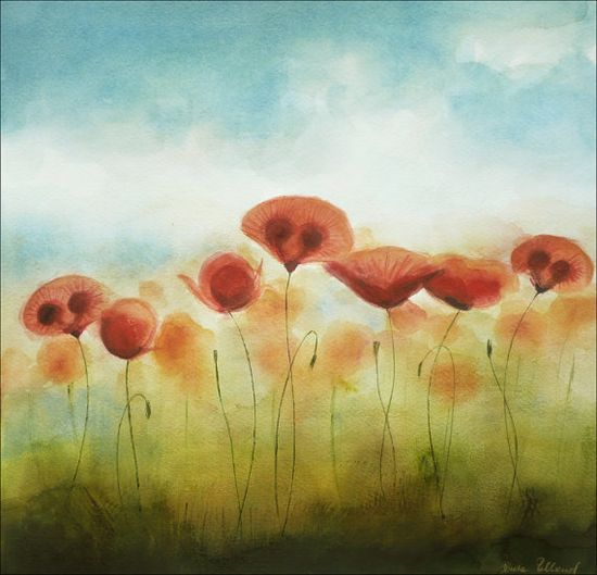 POPPY FIELD - Watercolor Painting with Blooming Poppy Flower Motif, Original Painting
