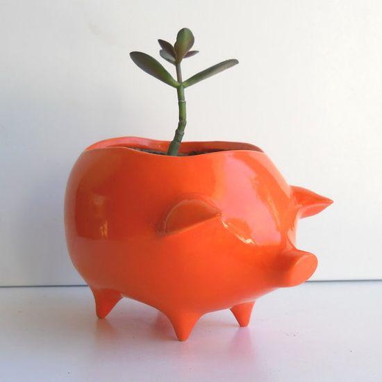 ceramic pig planter vintage design in orange by fruitflypie on etsy.
