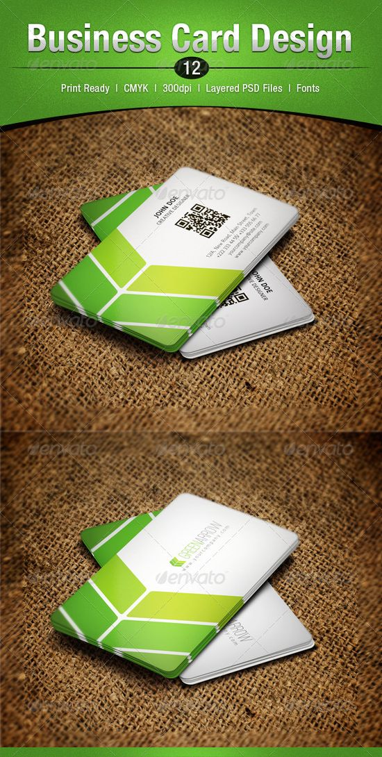 Green corporate business card design - #graphic #design