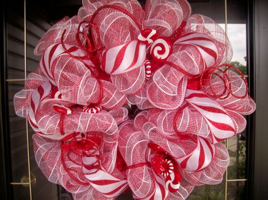 Candy Cane Peppermint Deco Mesh wreath