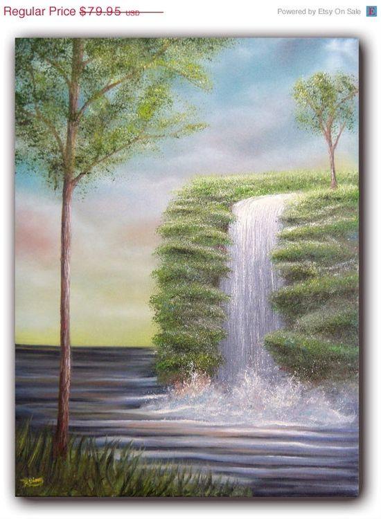 Original Art Waterfall Landscape Painting Waterfall by BingArt, $47.97