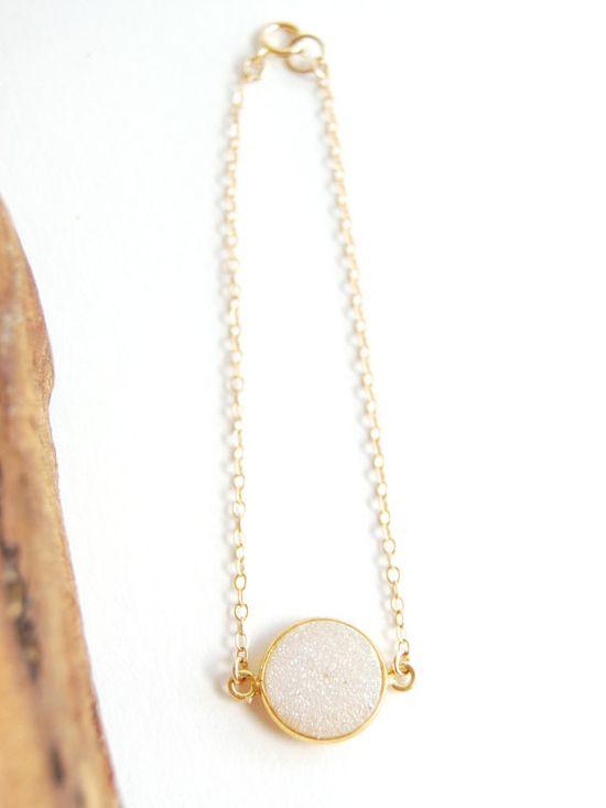 Kalino bracelet  gold and white druzy bracelet by kealohajewelry