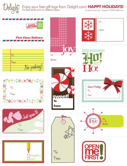 "Cute, free, printable gift tags with an attitude! One says, ""Please act surprised when you open this, okay?"