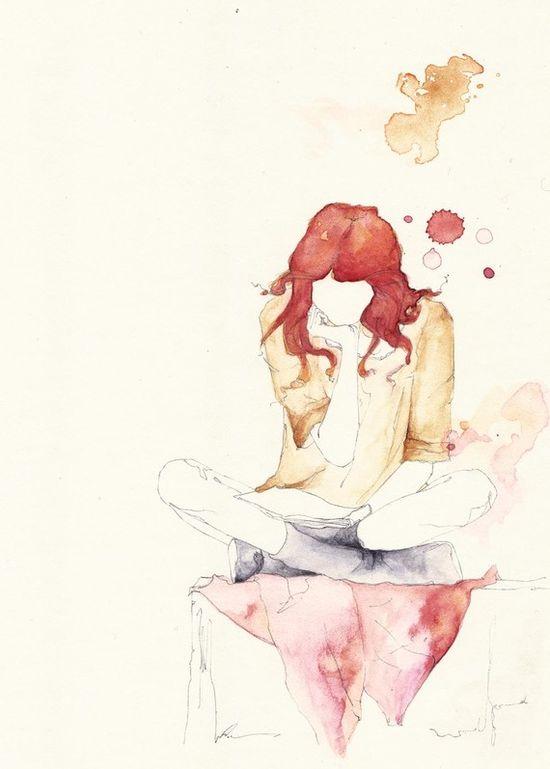 Girl Reading #watercolor #drawing #illustration