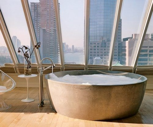 skylight bathroom...i bet this is awesome at night!