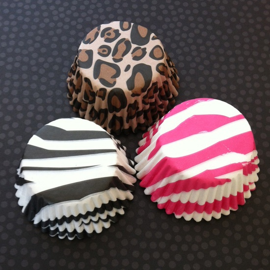 50 Leopard Print Cupcake Liners - Cheetah - Wild Things - Paper Party Supplies. $3.75, via Etsy.
