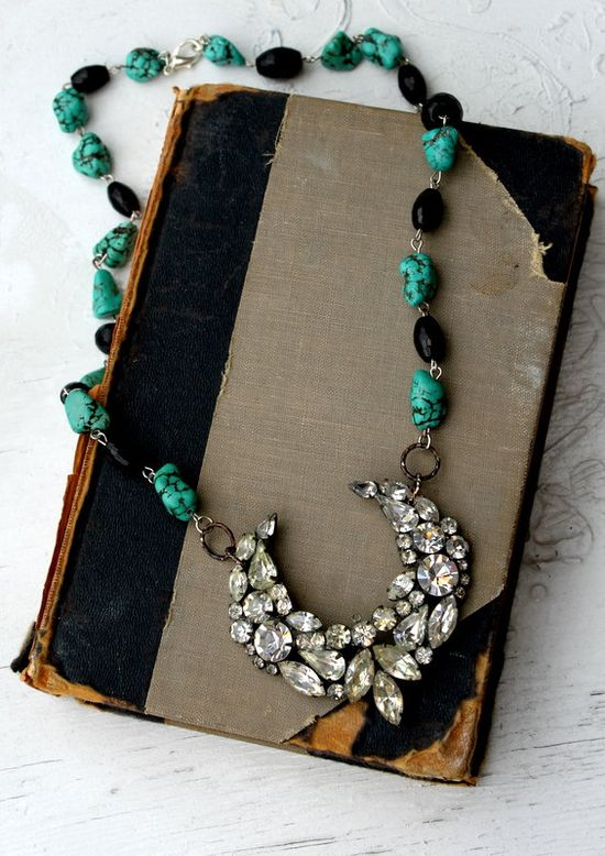 Vintage Rhinestone Turquoise and Onyx Assemblage Necklace....Behold. $72.00, Etsy by simplymeart