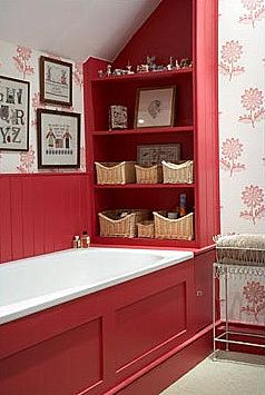 bathroom shelves in red