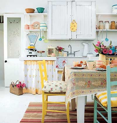 Quaint Kitchen  Using vintage linens, dishes, and colors...so sweet and colorful!