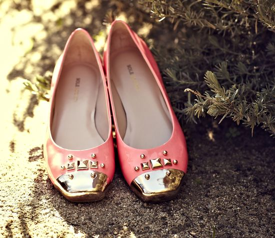 Pink and gold flats