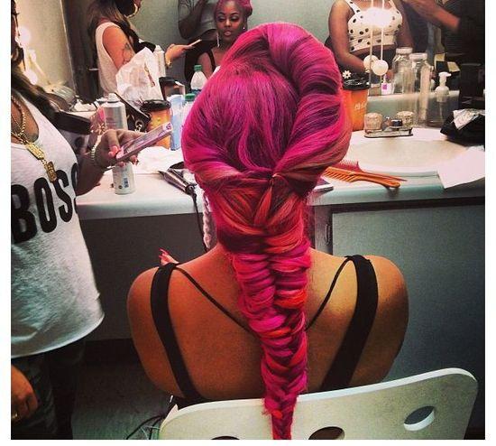 Pink fishtail braided hair
