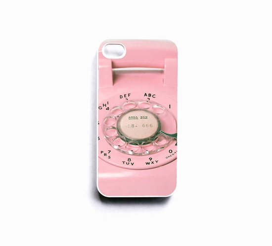 Pink iPhone 4 case, for her, Valentines, girly iPhone case, rotary phone, dial, retro, cool iPhone case. $30.00, via Etsy.