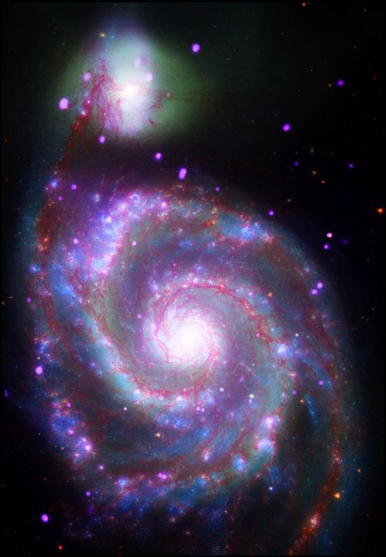 At a distance of about 30 million light years from Earth, it is also one of the brightest spirals in the night sky. A composite image of M51, also known as the Whirlpool Galaxy, shows the majesty of its structure in a dramatic new way through several of NASA's orbiting observatories.