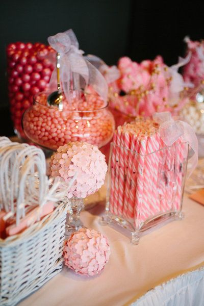 pink and coral candy buffet @Elizabeth Lockhart Schaefer
