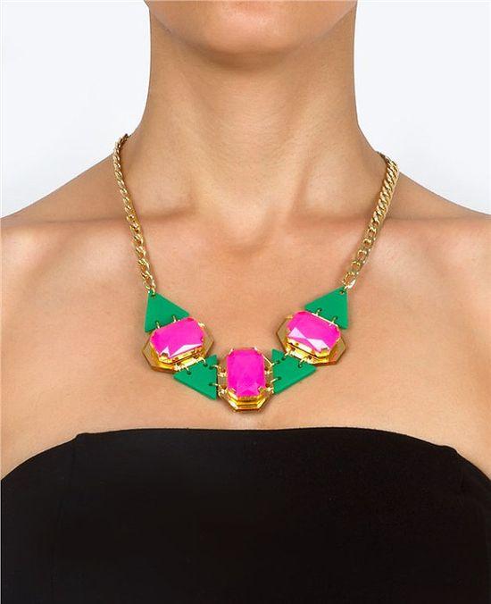 Fushia DropsStatement NecklacePlexiglass Jewelry by bugga on Etsy, $35.00