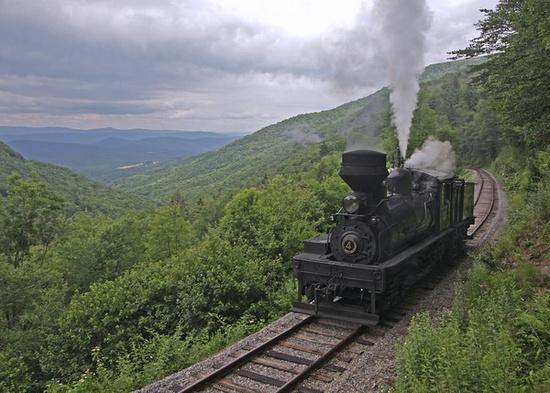 Cass Scenic Railroad Shay #4 drifts downgrade just below old Spruce. Cass, West Virginia.