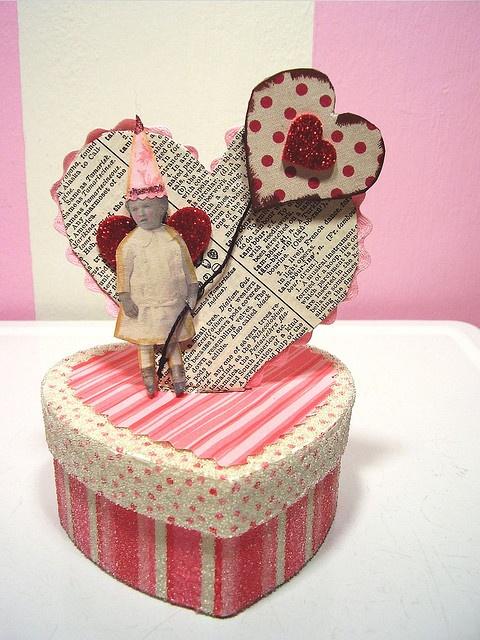 darling altered art Valentine's box