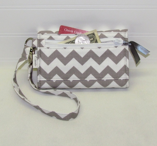 NEW STYLE TECH Cell Phone Case Wristlet iPhone Droid Wallet for Smart Phones / Raspberry Pink Gray Chevron. $29.95, via Etsy.