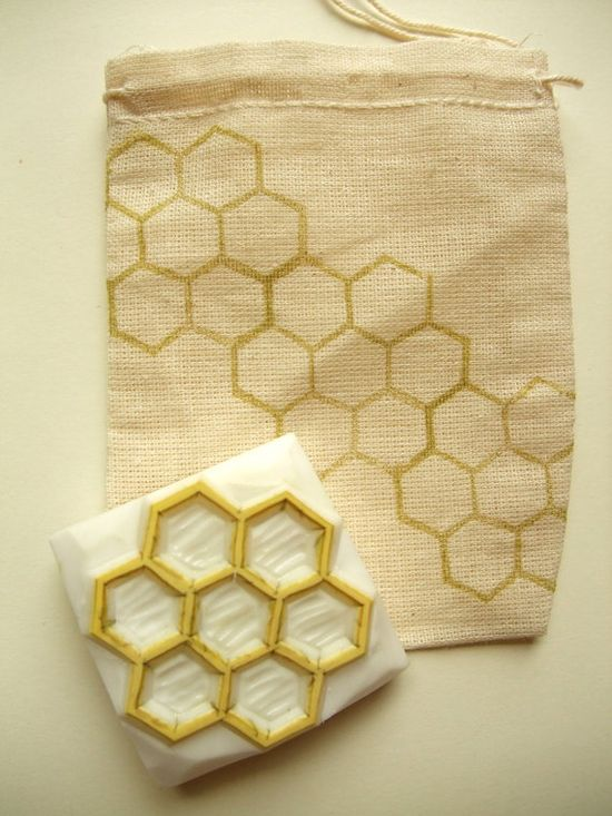 beehive hand carved rubber stamp - geometric rubber stamp - hand carved stamp - honey comb rubber stamp. $12,00, via Etsy.