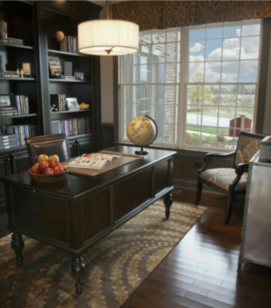 Traditional home office design, patterned rug, Sophisticated office accessories, Natural lighting, Dark hard woods.