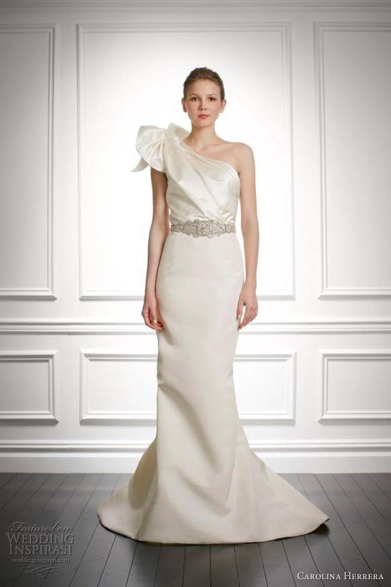 carolina herrera bridal fall 2013 jacqueline one shoulder wedding dress