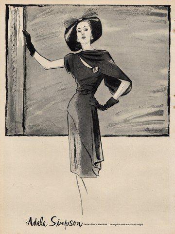 A lovely Adele Simpson fashion illustration, 1946. #vintage #1940s #fashion