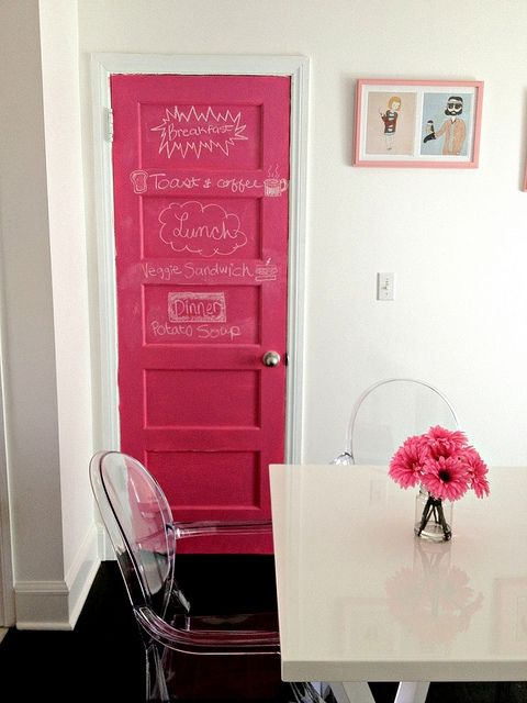 Pink chalkboard paint for the door. More DIY chalkboard paint ideas @BrightNest Blog