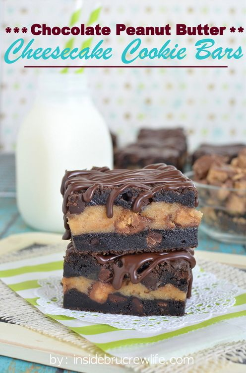 Chocolate Peanut Butter Cheesecake Cookie Bars - dark chocolate cookie bars with a peanut butter cheesecake center made with Reese's peanut butter cups  www.insidebrucrew...