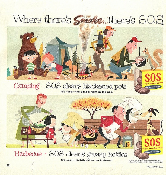 What an incredibly darling 1950s S.O.S ad. #vintage #1950s #cleaning #ad #camping #family