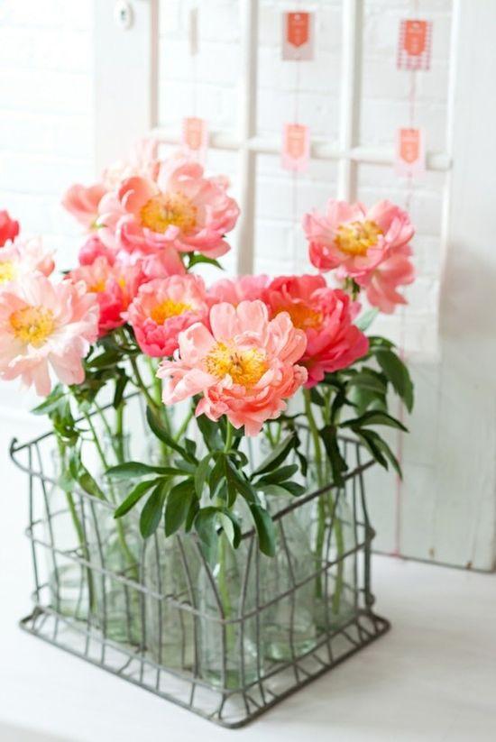 Joyfully pretty pink blooms. #pink #blooms #flowers #bottles #vintage #shabby #chic #arrangement #wedding
