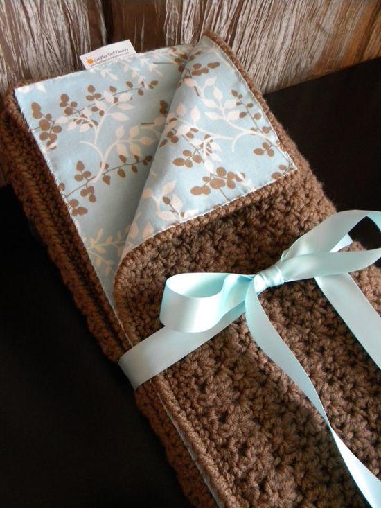 Crocheted Fabric-Lined Blanket by GetTheeToAYarnery