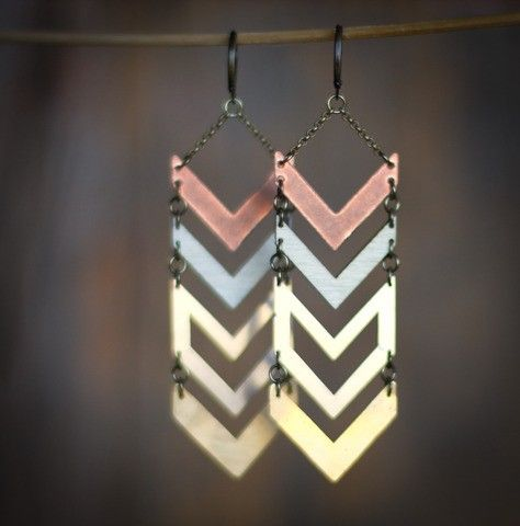 Multi Metal Chevron Earrings #jewellery #jewelry via @Etsy!