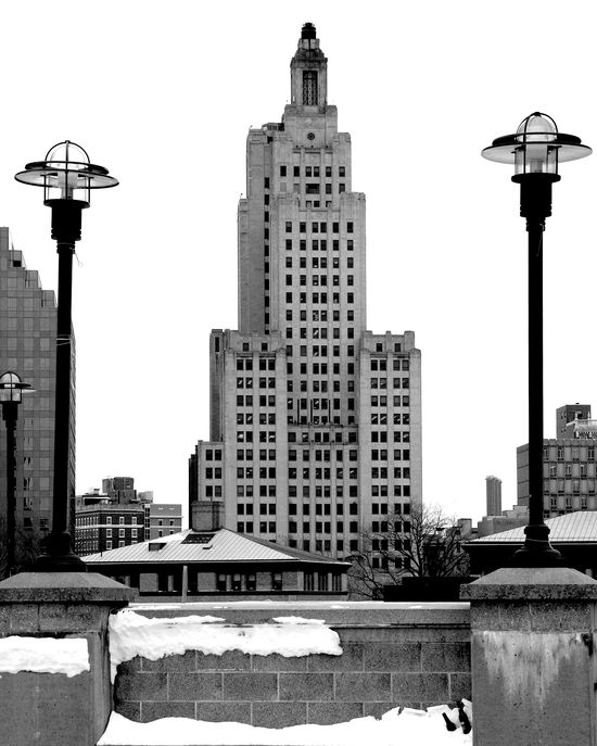 """The Bank of America Building in downtown Providence, RI. Nicknamed the """"Superman"""" building by locals."""