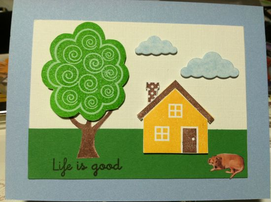 Clouds - Memory Box Puffy Clouds die,  Tree - Close to My Heart Treetops Stamp,  House - unknown,  Dog - Friends Best Friend
