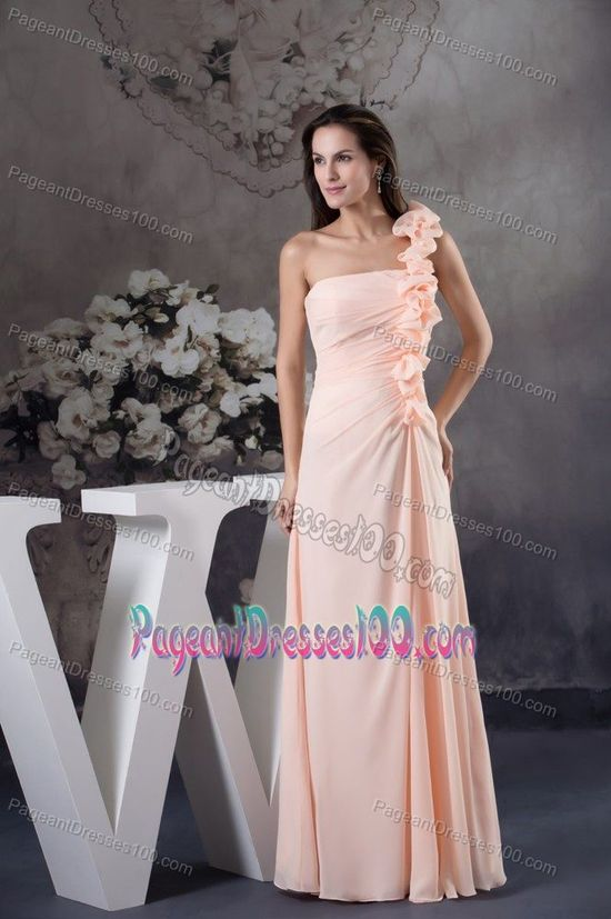 Pink Floor-length Interview Pageant Suits with Handmade Flower