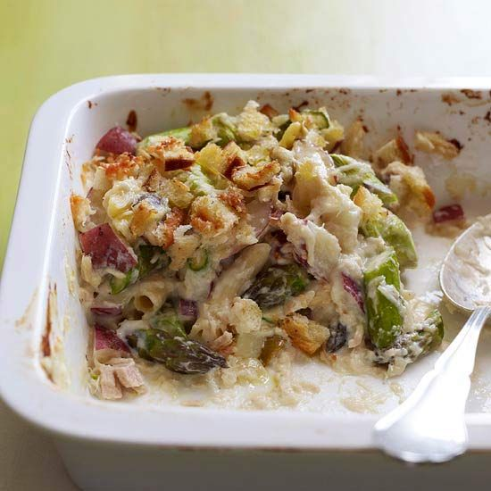A new and delicious casserole recipe with tuna, potatoes, olives and asparagus.