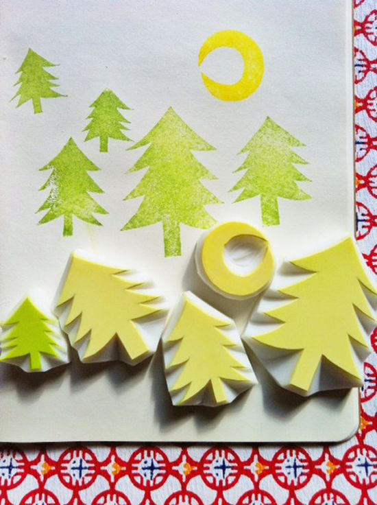 winter forest hand carved rubber stamp - handmade rubber stamp - moon and trees. $25.00, via Etsy.