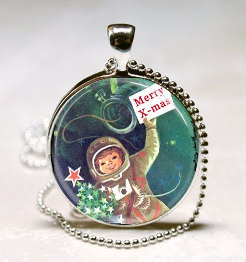 Retro Christmas Jewelry Vintage Astronaut by MissingPiecesStudio, $9.95