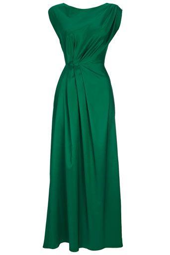 Green Pleat Maxi Dress