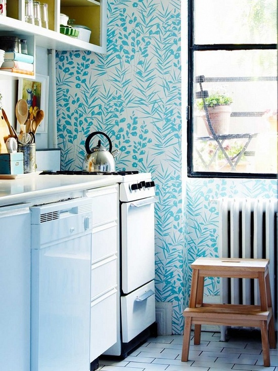 What a cool idea to spruce up a room with little wall space-- use fun wallpaper!