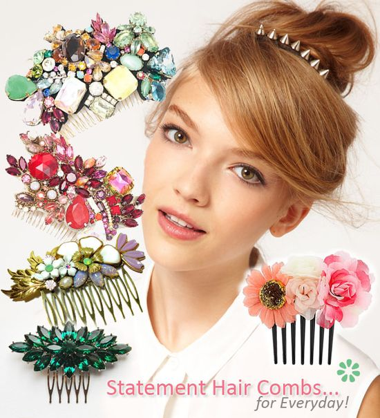 Statement Hair Combs, Hair Accessories Never thought about sticking one of these in front of my bun.