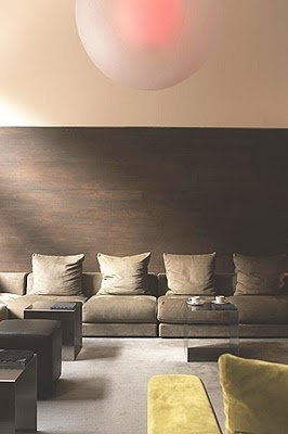 living room - faux wood wallpaper hung horizontally and only part way up the wall.. nice look