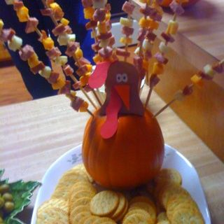 Thanksgiving Appetizer-this would be cute with a cheese ball instead of a pumpkin.