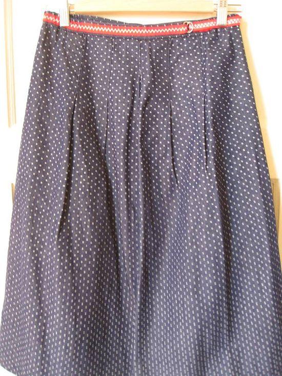 70's Dotted Denim A Line Skirt Med by topkatvintage on Etsy, $26.00