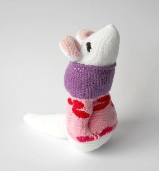 stuffed animal toy sock animal mouse mice plush animal doll white pink nursery toy on Etsy, $19.00