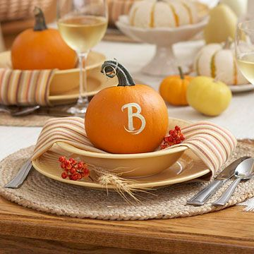 "Monogrammed Pumpkin ""Placecards""...love this for fall dinner parties!.....we put names on our pumpkins so that they scab over as they grow......turns out So cool!!"