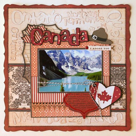 #papercraft #scrapbook #layout Canada layout made with the #Cricut